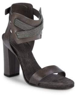 Brunello Cucinelli Studded Leather Block Heel Sandals/4""
