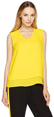 Essentialist Women's Double Layer V-Neck Sleeveless Shell Top