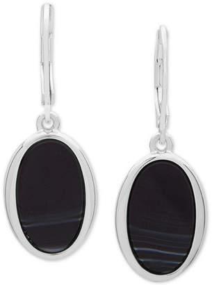 Nine West Silver-Tone & Stone Oval Drop Earrings