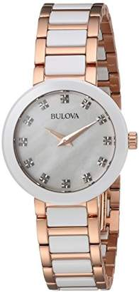 Bulova Women's Quartz Ceramic and Stainless Steel Casual Watch, Color:Two Tone (Model: 98P160) $375 thestylecure.com