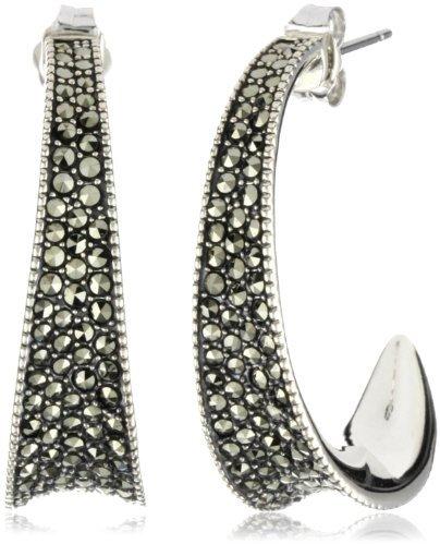 Judith Jack Sterling Silver Marcasite Pave Sculptured Contour Hoop Earrings