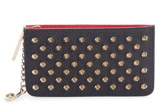 Christian Louboutin Credilou Calfskin Leather Zip Card Case