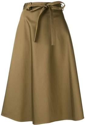 Theory flared midi skirt