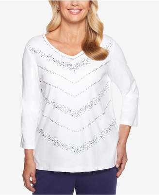 Alfred Dunner Petite Comfortable Situation Embellished Chevron Top