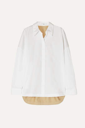 Tibi Two-tone Color-block Cotton-poplin Shirt - White