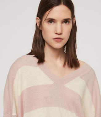 AllSaints Byers Stripe V-Neck Sweater