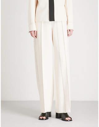 Joseph Kirn contrast-stitch wide-leg woven-stretch trousers