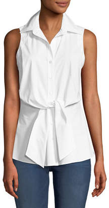 Walter Finley Sleeveless Tie-Front Blouse