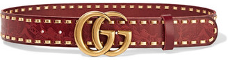 Gucci - Cerise Embossed Leather Belt - Red $680 thestylecure.com