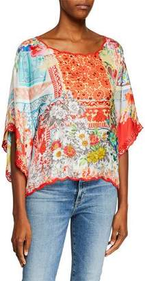 Johnny Was Boho Scoop-Neck Cropped Silk Twill Top