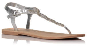 Bell George Bead Embellished Metallic Sandals