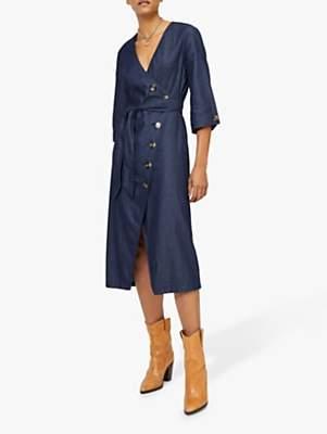 ed6b37e7e64 Warehouse Asymmetric Denim Shirt Dress