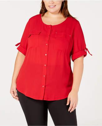 NY Collection Plus & Petite Plus Size Utility Shirt