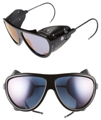 Women's Moncler 57Mm Mirrored Shield Sunglasses - Black/ Gold/ Brown Mirror $505 thestylecure.com