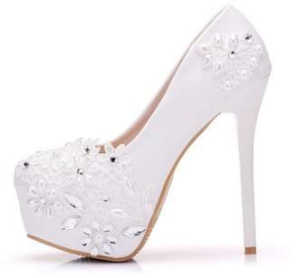 1a2fe6b6843 Gusha Lace Wedding Shoes High Heels Women s Round Toe High Heels Wedding  Party( 39