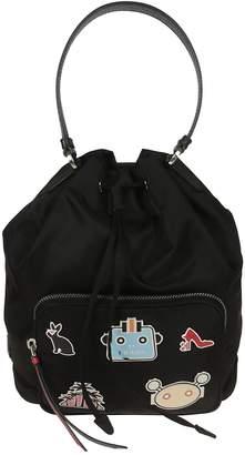 Prada Badge Applique Bucket Bag