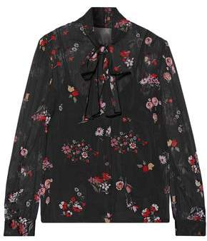 RED Valentino Pussy-Bow Printed Stretch-Silk Chiffon Blouse
