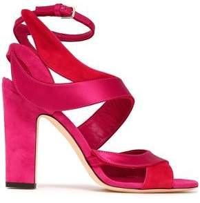 Jimmy Choo Falcon Satin And Suede Sandals