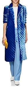 Robert Rodriguez Women's Quilted Velvet Coat - Blue