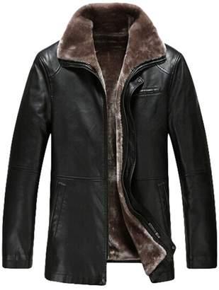 PENER Men's Winter Plus Thick Velvet Leather Jacket Coat Lambskin Leather Car Coat (L, )
