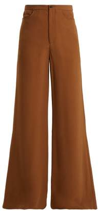Connolly - High Rise Wide Leg Crepe Trousers - Womens - Brown