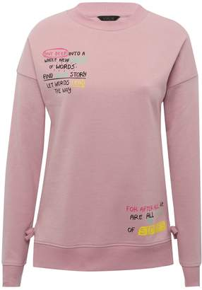 M&Co Teens' slogan tie side sweater