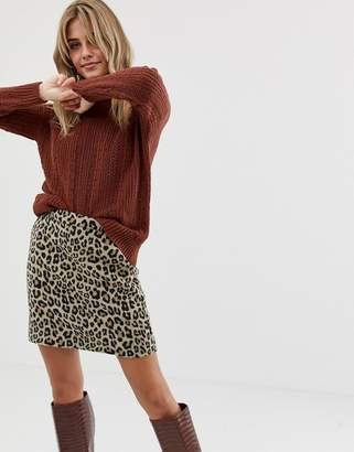 Miss Selfridge sweater with frill neck in rust