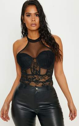 PrettyLittleThing Black High Neck Mixed Lace Sleeveless Bodysuit