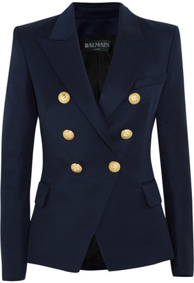Balmain - Double-breasted Wool-twill Blazer - Navy $2,430 thestylecure.com