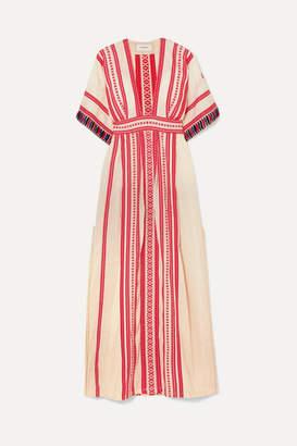 Celia Dragouni - Picot-trimmed Embroidered Cotton Maxi Dress