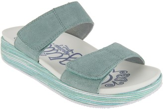 Alegria Suede Adjustable Slide Wedge Sandals - Mixie
