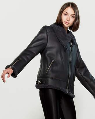 Mackage Minna Real Shearling Collar Moto Jacket