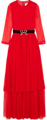 Crystal-embellished Pleated Silk-chiffon Midi Dress - Red