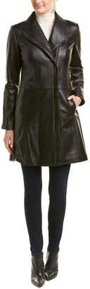 Cole Haan Zip Front Leather Coat