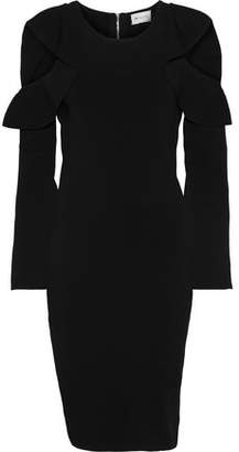 Milly Cold-shoulder Ruffle-trimmed Stretch-knit Dress