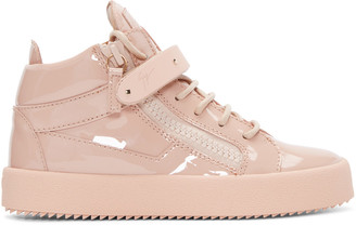 Giuseppe Zanotti Pink Patent Leather London High-Top Sneakers $825 thestylecure.com