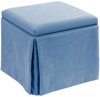 One Kings Lane Anne Skirted Storage Ottoman - French Blue Linen