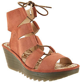 Fly London Leather Ghillie Lace-up Wedges -Yoll