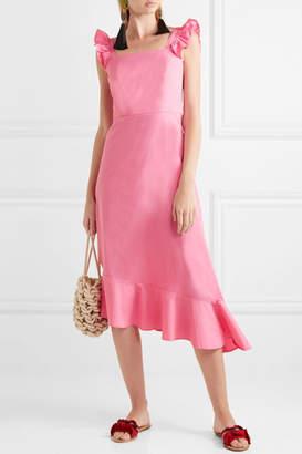 STAUD Valentina Ruffled Stretch-cotton Poplin Dress - Pink