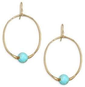 Ippolita 18K Gold Nova Small Round Turquoise Drop Earrings
