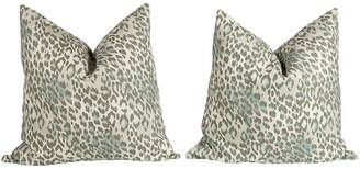 One Kings Lane Vintage Light Blue & Gray Leopard Pillows - Set of 2 - Ivy and Vine