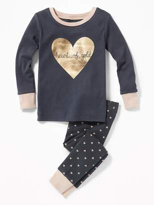 """Old Navy """"Heart of Gold"""" Sleep Set for Toddler Girls & Baby"""