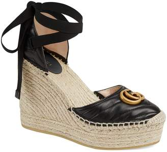 90c174ae307 Gucci Palmyra Ankle Tie Espadrille Wedge