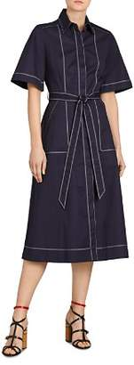 Burberry Carmen Topstitched Midi Shirt Dress