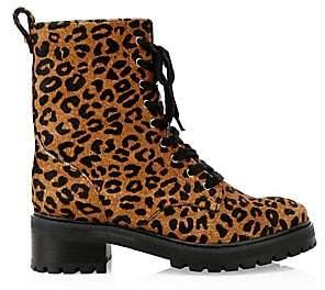 5fc6221a4bd8 Schutz Women s Gioconda Leopard Calf-Hair Combat Boots