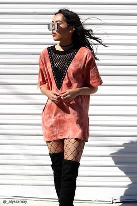 Forever 21 Crystal-Dye Plunging Tee