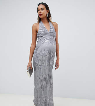TFNC Maternity Maternity sequin maxi dress with open back in silver