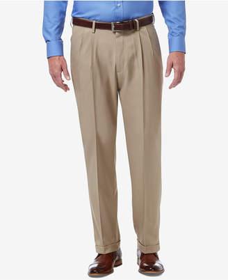 Haggar Men Premium Comfort Stretch Classic-Fit Solid Pleated Dress Pants