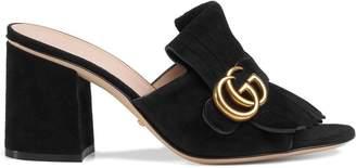 Gucci Suede mid-heel slide
