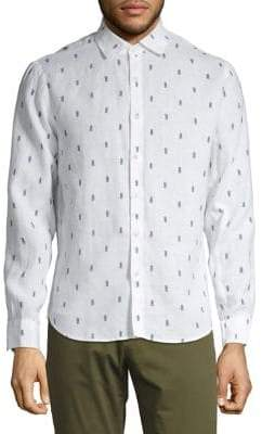 Black Brown 1826 Printed Linen Button-Down Shirt